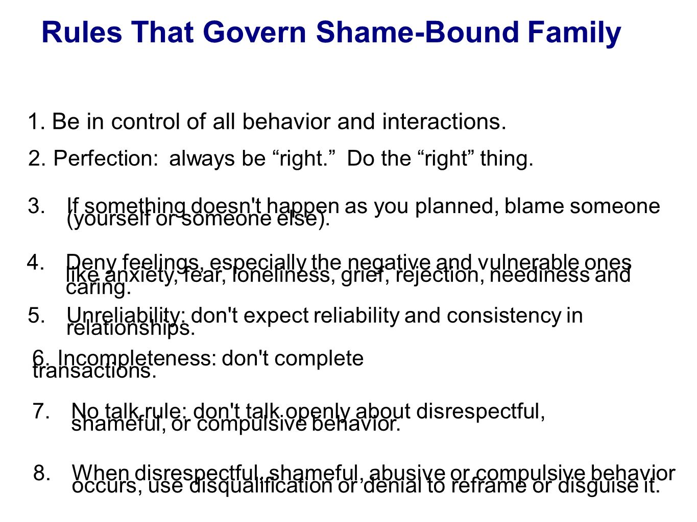 Rules That Govern Shame-Bound Family Merle Fossum and Marilyn J.