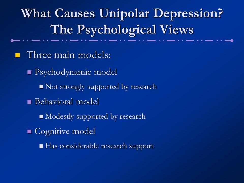 What Causes Unipolar Depression? The Psychological Views Three main models: Three main models: Psychodynamic model Psychodynamic model Not strongly su