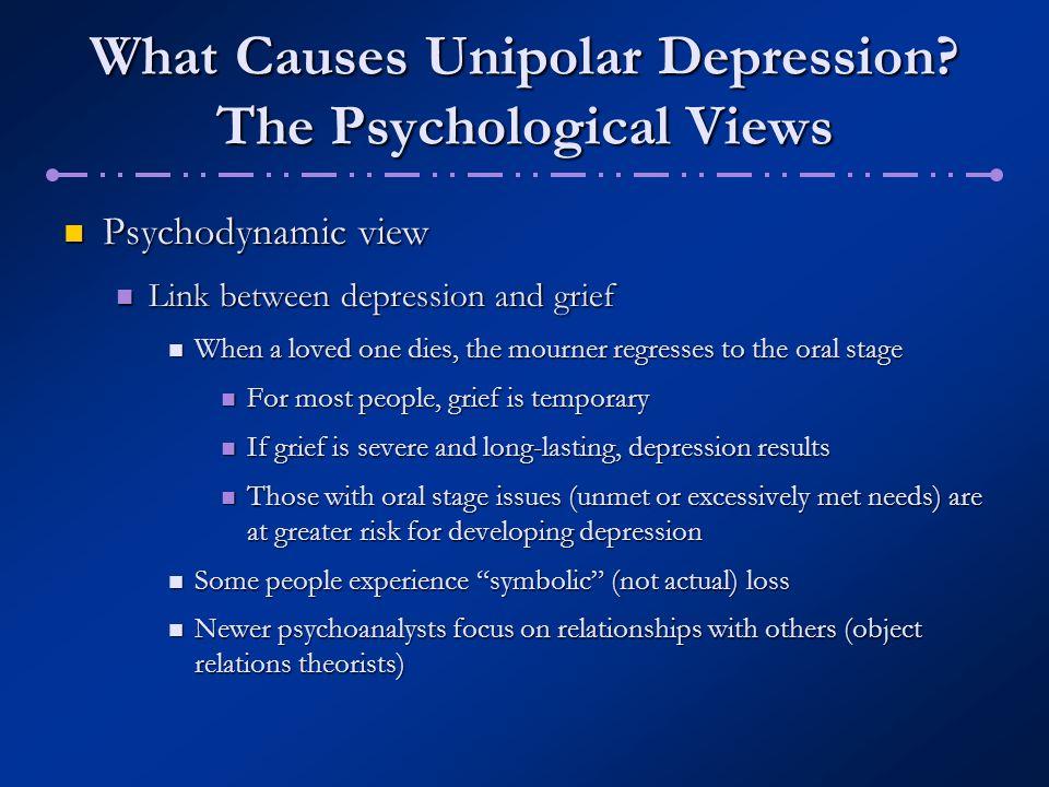 What Causes Unipolar Depression? The Psychological Views Psychodynamic view Psychodynamic view Link between depression and grief Link between depressi