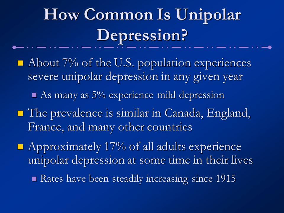 How Common Is Unipolar Depression.