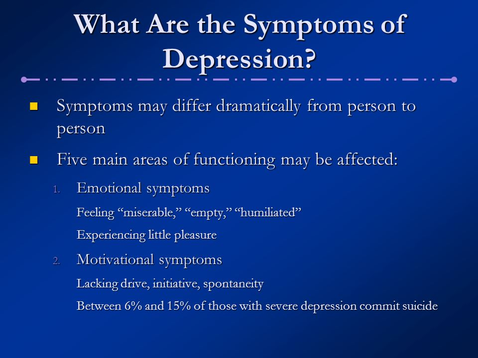 What Are the Symptoms of Unipolar Depression.