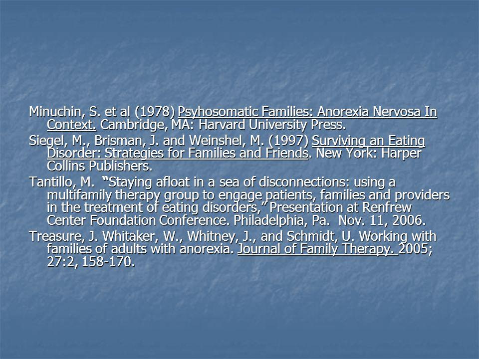 Minuchin, S. et al (1978) Psyhosomatic Families: Anorexia Nervosa In Context.