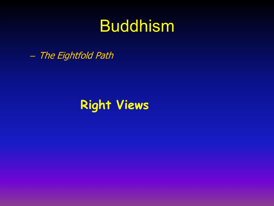 Buddhism – The Eightfold Path Right Views