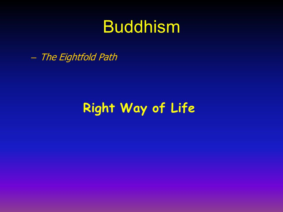 Buddhism – The Eightfold Path Right Way of Life