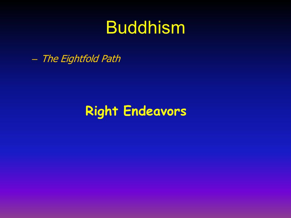 Buddhism – The Eightfold Path Right Endeavors