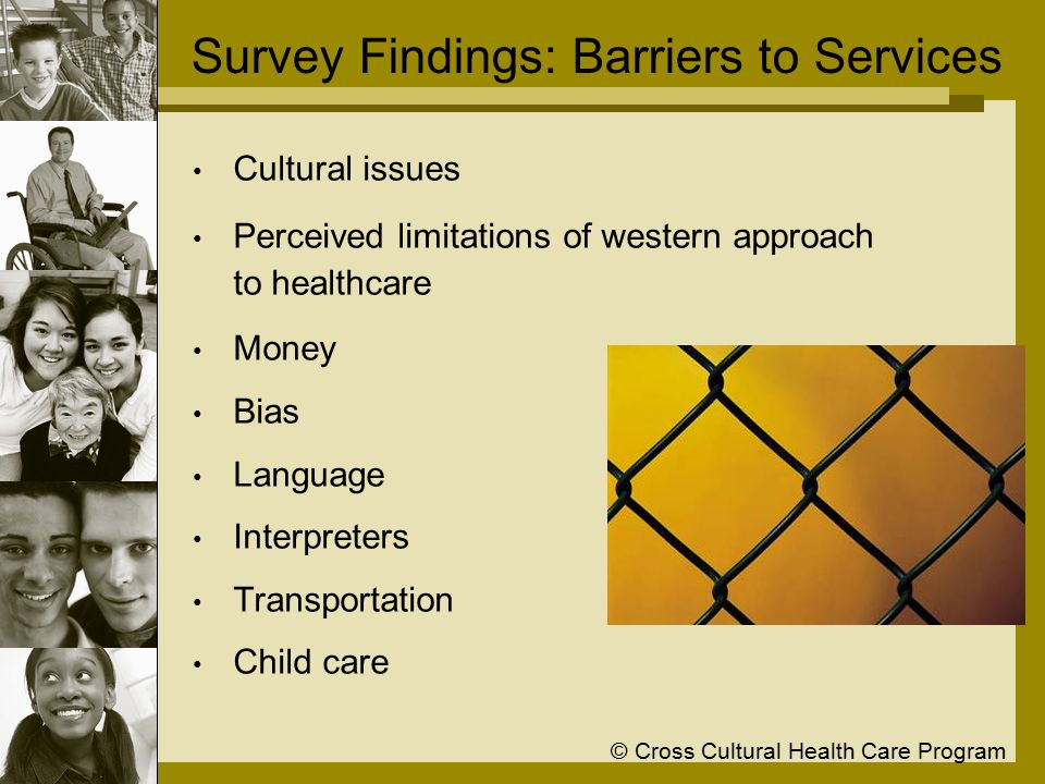 © Cross Cultural Health Care Program Survey Findings: Barriers to Services Cultural issues Perceived limitations of western approach to healthcare Money Bias Language Interpreters Transportation Child care