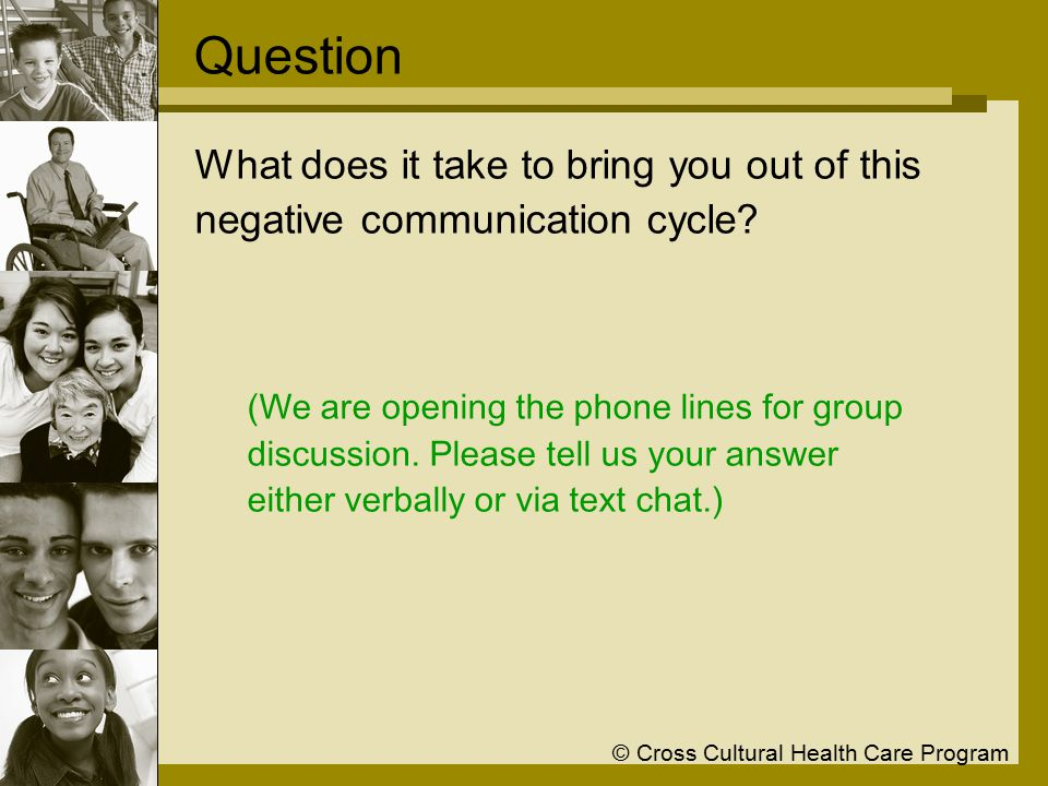 © Cross Cultural Health Care Program Question What does it take to bring you out of this negative communication cycle.