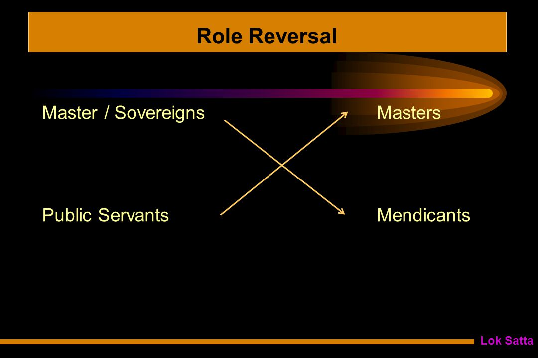 Lok Satta Role Reversal Master / Sovereigns Masters Public Servants Mendicants
