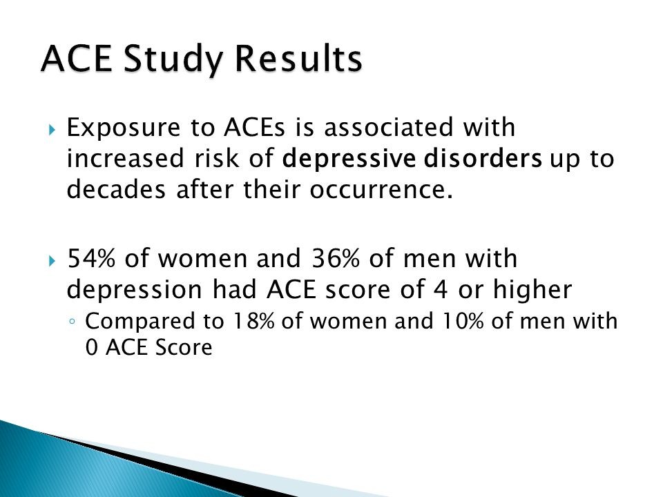  Exposure to ACEs is associated with increased risk of depressive disorders up to decades after their occurrence.  54% of women and 36% of men with