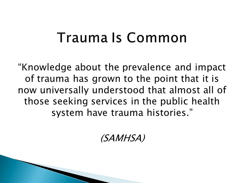 Individual Trauma: A blow to the psyche that breaks through one's defenses so suddenly and with such force that one cannot respond effectively. - Kai Erickson, In the Wake of a Flood, 1979 Collective Trauma: A blow to the tissues of social life that damages the bonds attaching people together. - Kai Erickson, In the Wake of a Flood, 1979 8