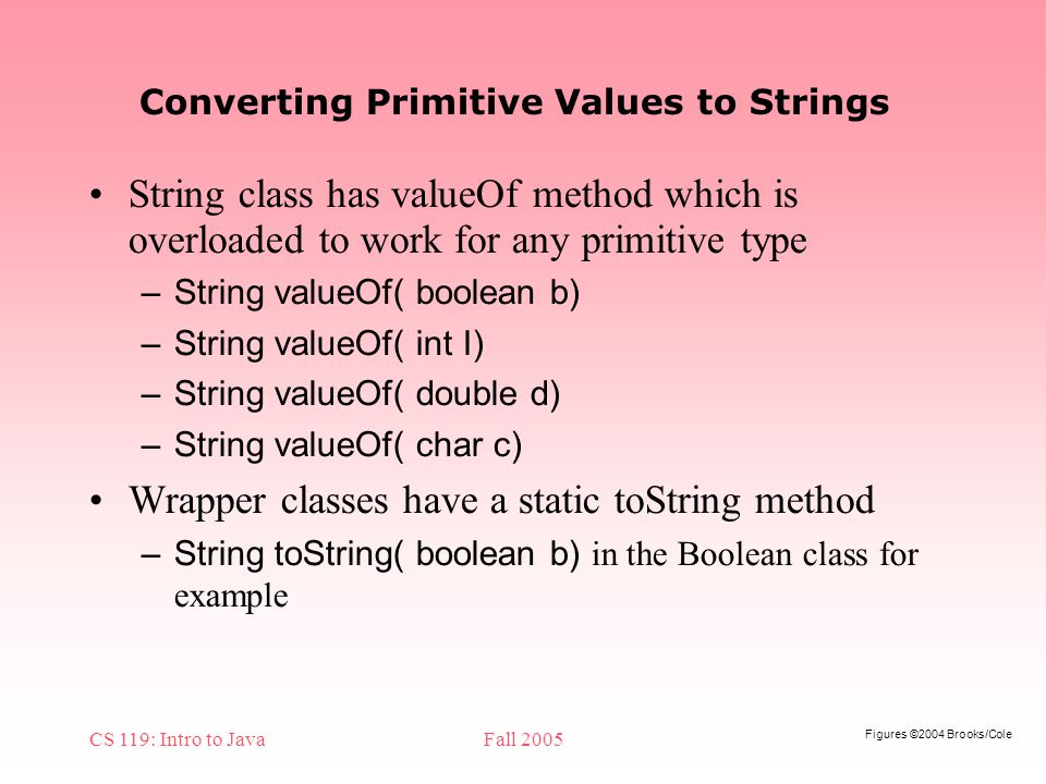 Figures ©2004 Brooks/Cole CS 119: Intro to JavaFall 2005 Converting Primitive Values to Strings String class has valueOf method which is overloaded to work for any primitive type – String valueOf( boolean b) – String valueOf( int I) – String valueOf( double d) – String valueOf( char c) Wrapper classes have a static toString method – String toString( boolean b) in the Boolean class for example