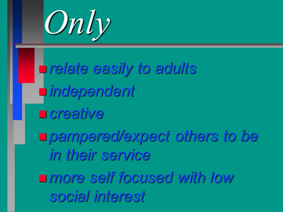 Only n relate easily to adults n independent n creative n pampered/expect others to be in their service n more self focused with low social interest