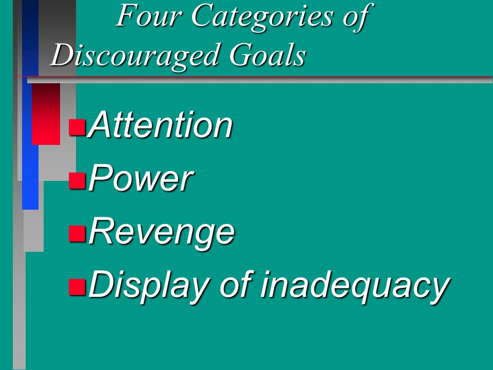 Four Categories of Discouraged Goals Four Categories of Discouraged Goals n Attention n Power n Revenge n Display of inadequacy