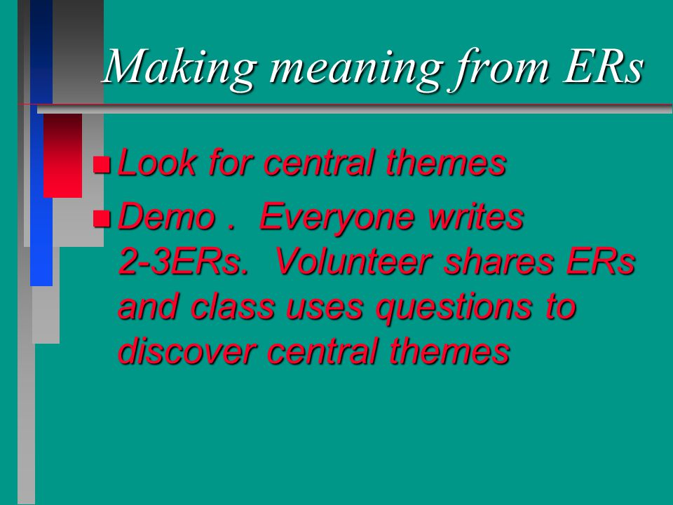Making meaning from ERs n Look for central themes n Demo. Everyone writes 2-3ERs. Volunteer shares ERs and class uses questions to discover central th