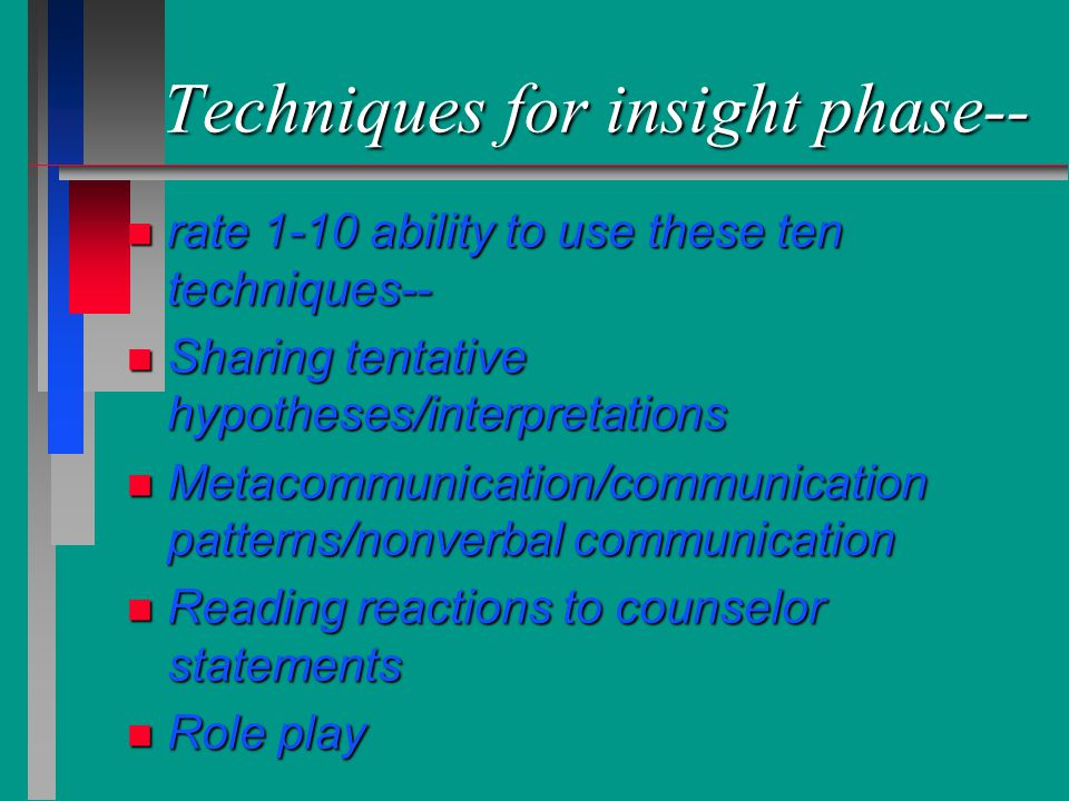 Techniques for insight phase-- n rate 1-10 ability to use these ten techniques-- n Sharing tentative hypotheses/interpretations n Metacommunication/co