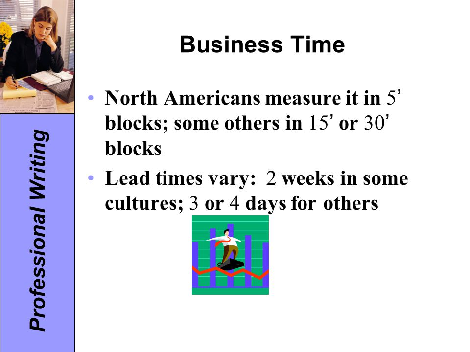 Professional Writing Business Time North Americans measure it in 5 ' blocks; some others in 15 ' or 30 ' blocks Lead times vary: 2 weeks in some cultu