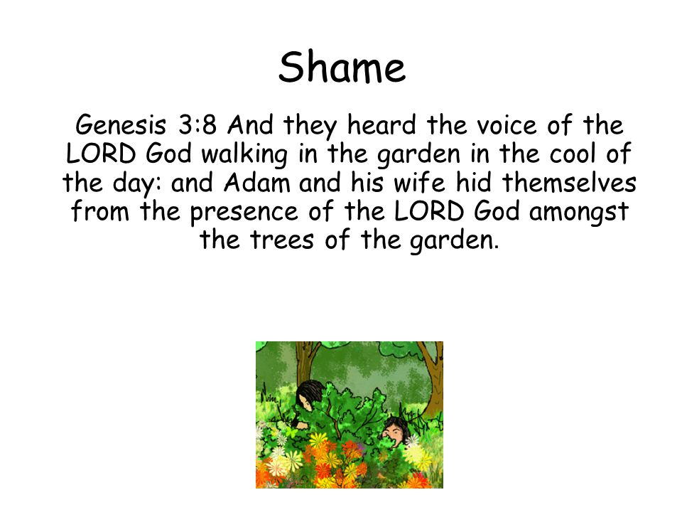 Shame Genesis 3:8 And they heard the voice of the LORD God walking in the garden in the cool of the day: and Adam and his wife hid themselves from the