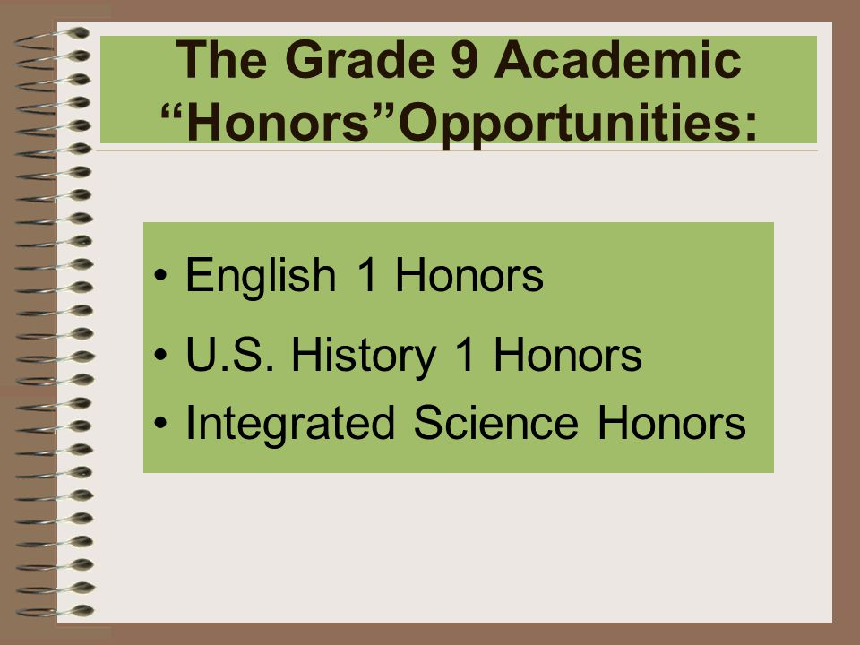 The Grade 9 Academic Honors Opportunities: English 1 Honors U.S.