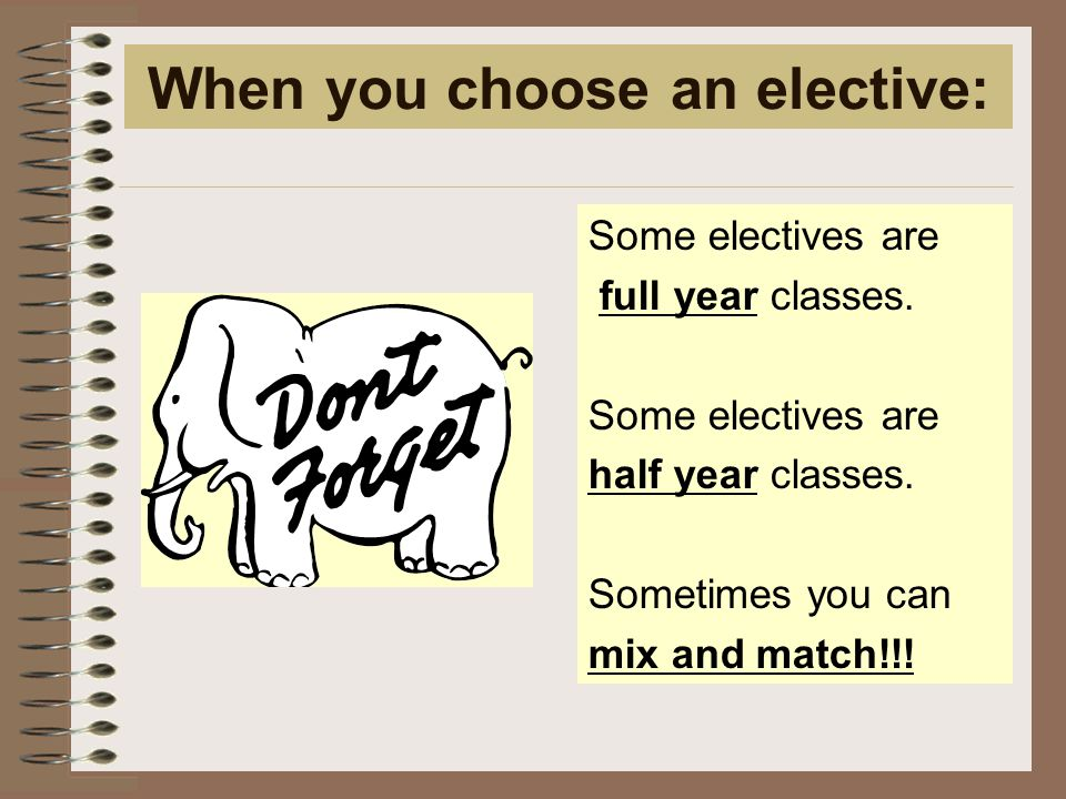 When you choose an elective: Some electives are full year classes.