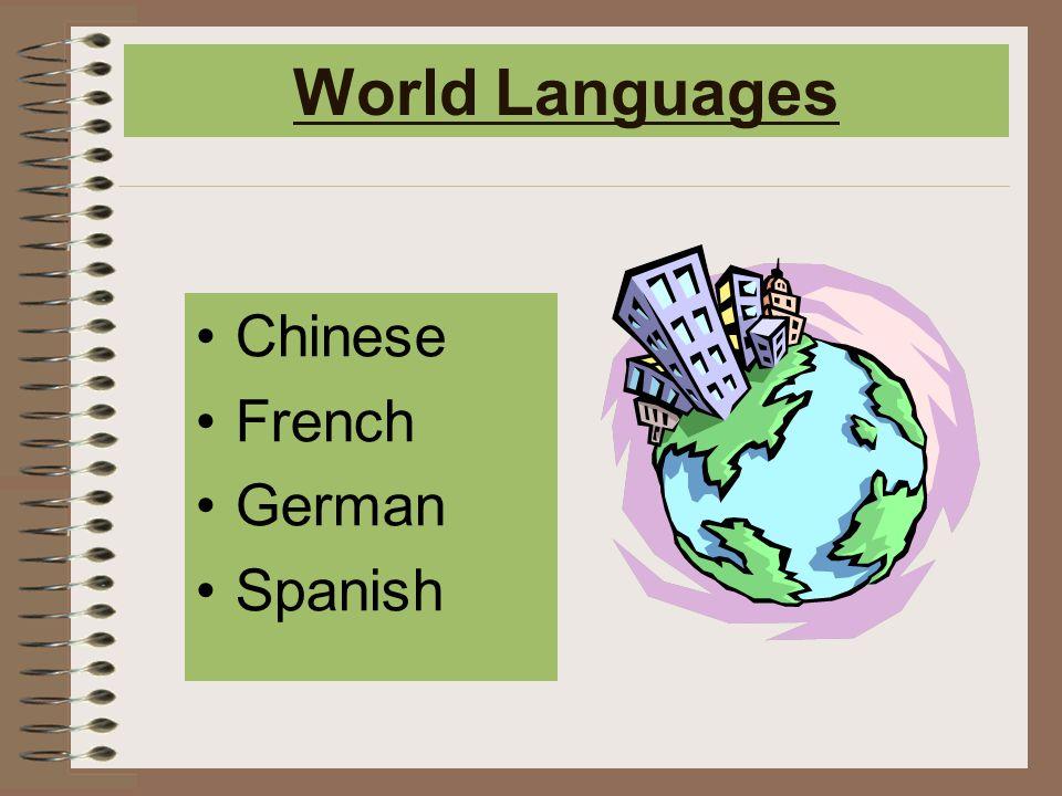 World Languages Chinese French German Spanish