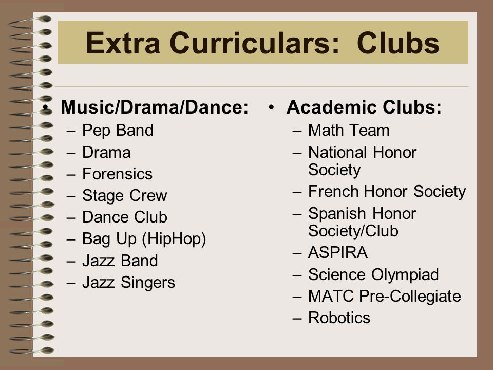 Extra Curriculars: Clubs Academic Clubs: –Math Team –National Honor Society –French Honor Society –Spanish Honor Society/Club –ASPIRA –Science Olympiad –MATC Pre-Collegiate –Robotics Music/Drama/Dance: –Pep Band –Drama –Forensics –Stage Crew –Dance Club –Bag Up (HipHop) –Jazz Band –Jazz Singers
