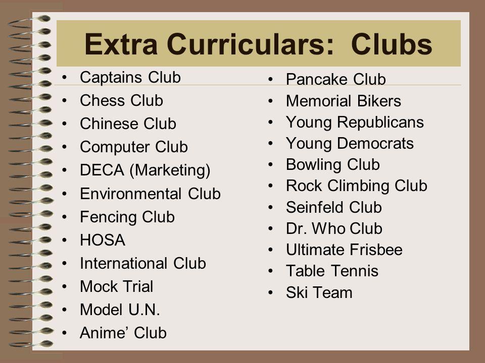 Extra Curriculars: Clubs Captains Club Chess Club Chinese Club Computer Club DECA (Marketing) Environmental Club Fencing Club HOSA International Club Mock Trial Model U.N.