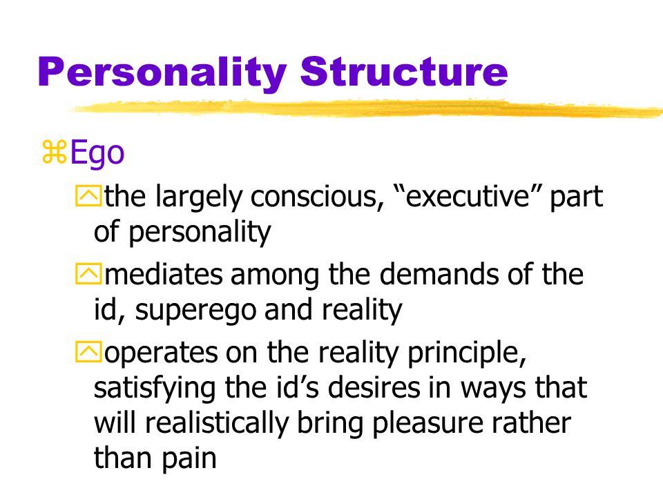 Personality Structure zFreud's idea of the mind's structure Id Superego EgoConscious mind Unconscious mind
