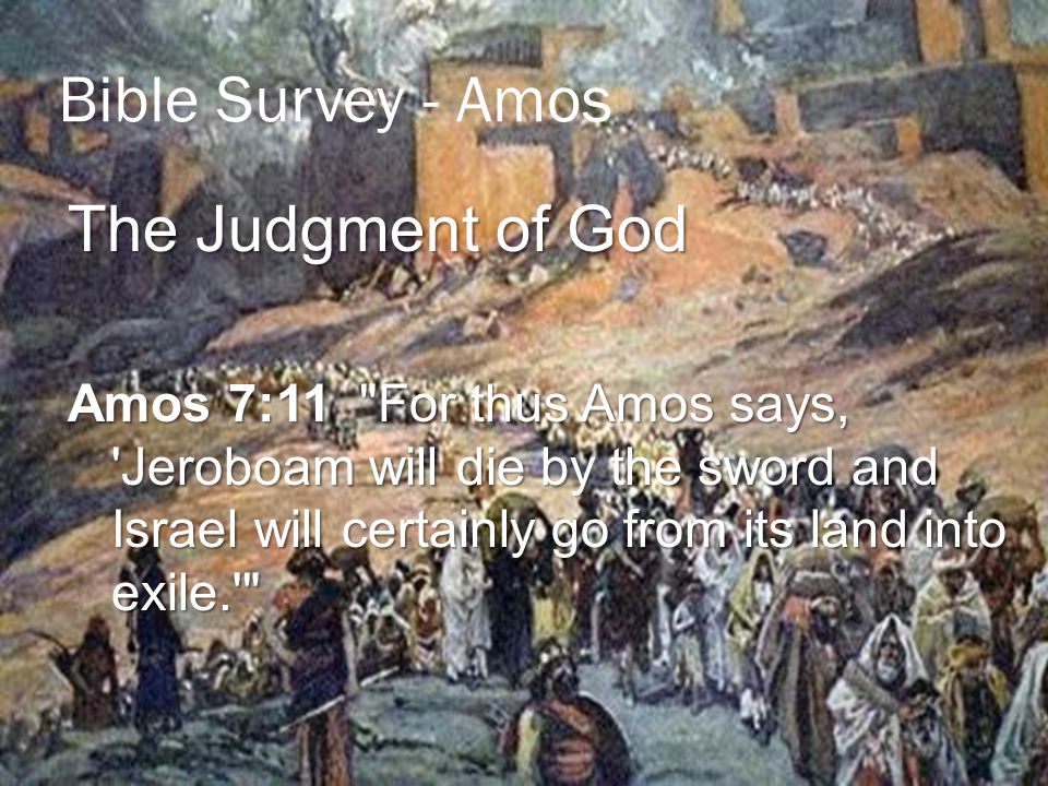 Bible Survey - Amos The Judgment of God Amos 7:11 For thus Amos says, Jeroboam will die by the sword and Israel will certainly go from its land into exile.