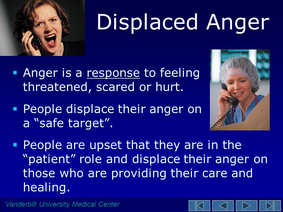 Vanderbilt University Medical Center Displaced Anger  Anger is a response to feeling threatened, scared or hurt.