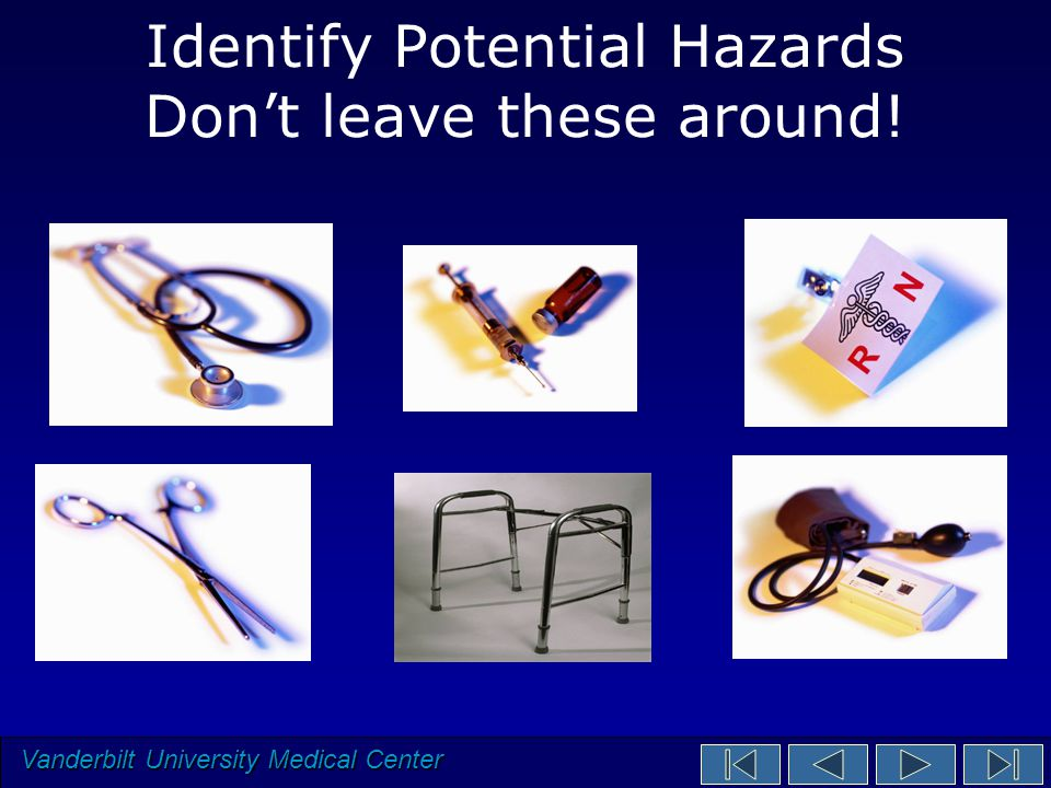 Vanderbilt University Medical Center Identify Potential Hazards Don't leave these around!