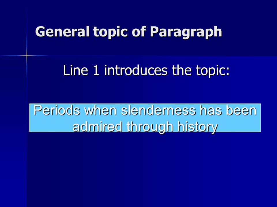 General topic of Paragraph Line 1 introduces the topic: Periods when slenderness has been admired through history