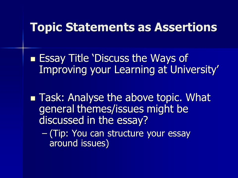 discuss in essay