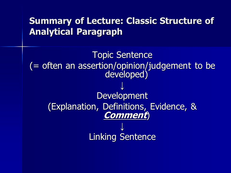 Summary of Lecture: Classic Structure of Analytical Paragraph Topic Sentence (= often an assertion/opinion/judgement to be developed) ↓Development (Explanation, Definitions, Evidence, & Comment) ↓ Linking Sentence