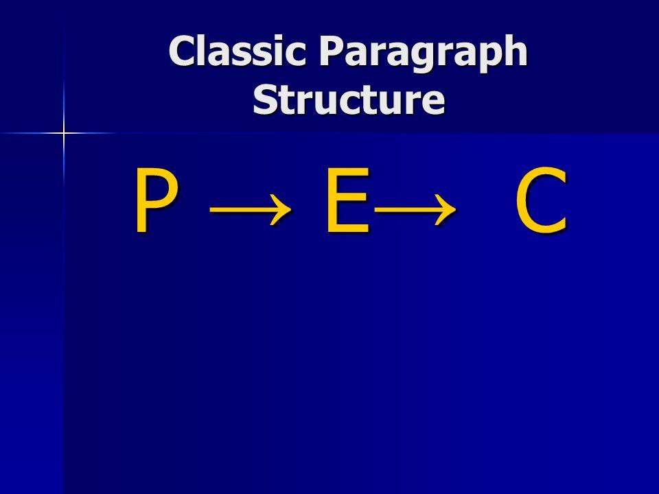 Classic Paragraph Structure P → E → C