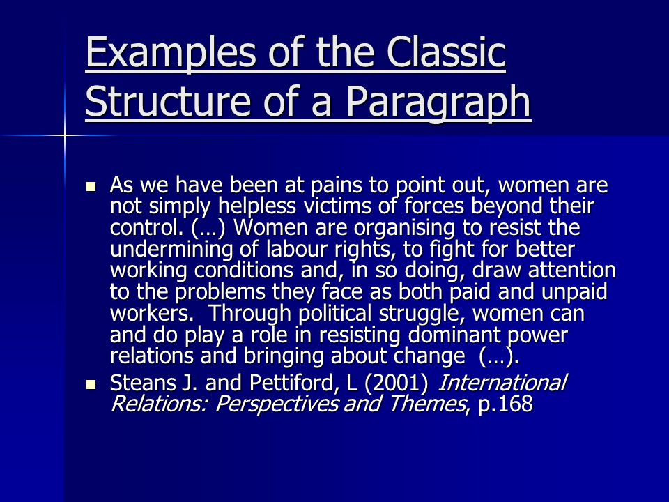 Examples of the Classic Structure of a Paragraph As we have been at pains to point out, women are not simply helpless victims of forces beyond their control.