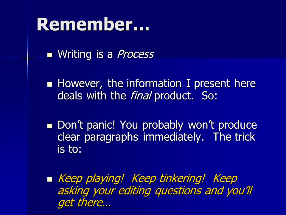 Remember… Writing is a Process Writing is a Process However, the information I present here deals with the final product.