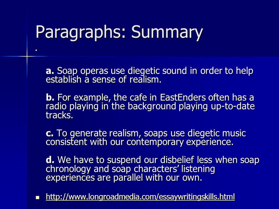 Paragraphs: Summary a.