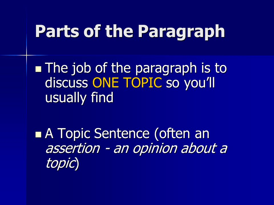 Parts of the Paragraph The job of the paragraph is to discuss ONE TOPIC so you'll usually find The job of the paragraph is to discuss ONE TOPIC so you'll usually find A Topic Sentence (often an assertion - an opinion about a topic) A Topic Sentence (often an assertion - an opinion about a topic)