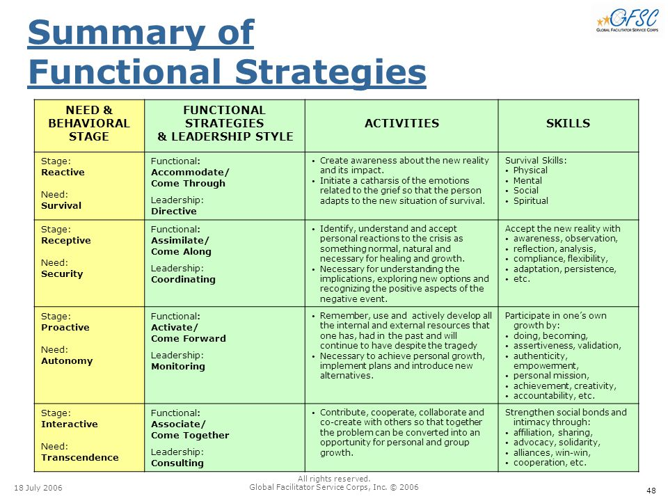 48 18 July 2006 All rights reserved. Global Facilitator Service Corps, Inc. © 2006 Summary of Functional Strategies NEED & BEHAVIORAL STAGE FUNCTIONAL