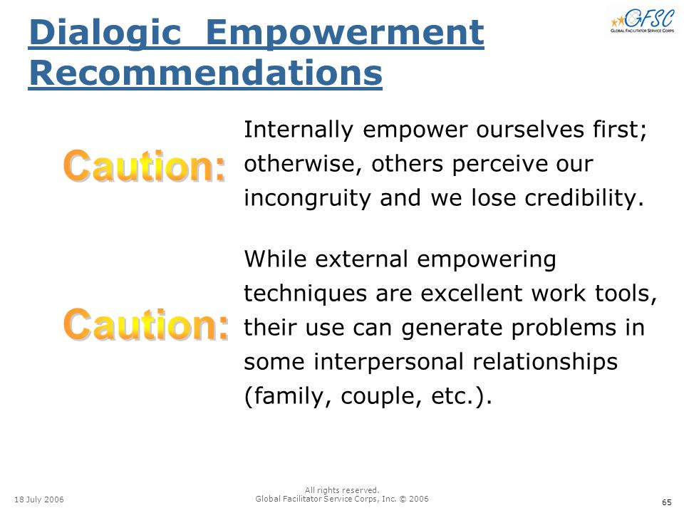65 18 July 2006 All rights reserved. Global Facilitator Service Corps, Inc. © 2006 Dialogic Empowerment Recommendations Internally empower ourselves f