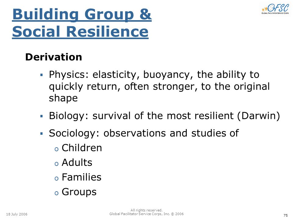 75 18 July 2006 All rights reserved. Global Facilitator Service Corps, Inc. © 2006 Building Group & Social Resilience Derivation  Physics: elasticity