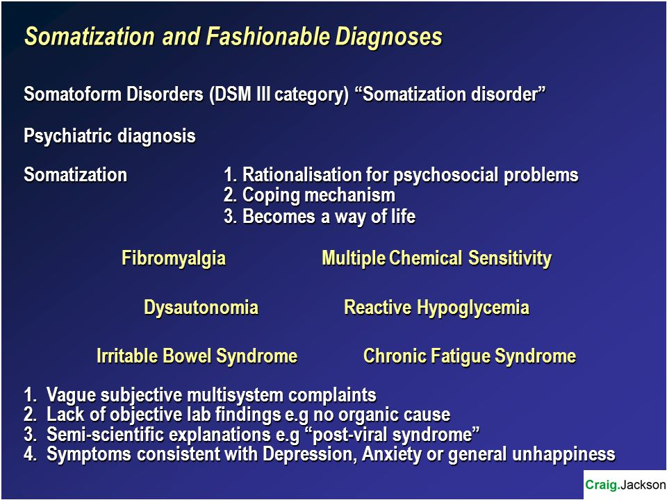 Somatization and Fashionable Diagnoses Somatoform Disorders (DSM III category) Somatization disorder Psychiatric diagnosis Somatization1.