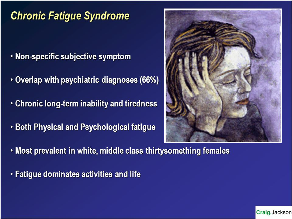 Chronic Fatigue Syndrome Non-specific subjective symptom Non-specific subjective symptom Overlap with psychiatric diagnoses (66%) Overlap with psychiatric diagnoses (66%) Chronic long-term inability and tiredness Chronic long-term inability and tiredness Both Physical and Psychological fatigue Both Physical and Psychological fatigue Most prevalent in white, middle class thirtysomething females Most prevalent in white, middle class thirtysomething females Fatigue dominates activities and life Fatigue dominates activities and life