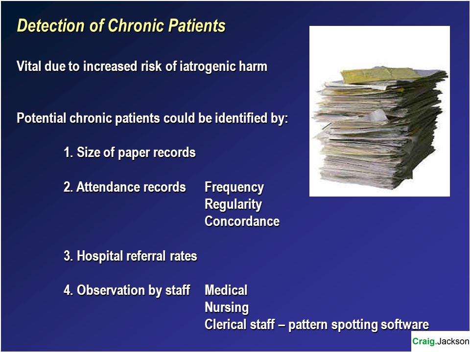 Detection of Chronic Patients Vital due to increased risk of iatrogenic harm Potential chronic patients could be identified by: 1.