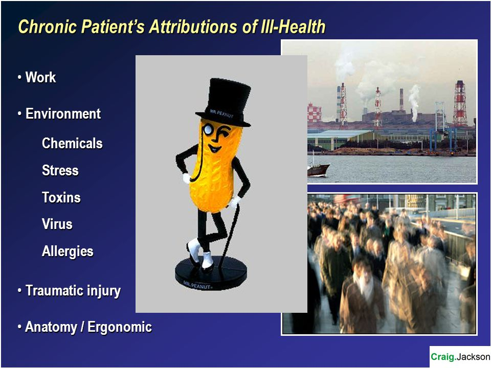 Chronic Patient's Attributions of Ill-Health Work Work Environment EnvironmentChemicalsStressToxinsVirusAllergies Traumatic injury Traumatic injury Anatomy / Ergonomic Anatomy / Ergonomic