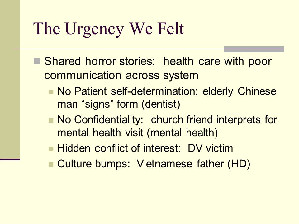 The Urgency We Felt Shared horror stories: health care with poor communication across system No Patient self-determination: elderly Chinese man signs form (dentist) No Confidentiality: church friend interprets for mental health visit (mental health) Hidden conflict of interest: DV victim Culture bumps: Vietnamese father (HD)