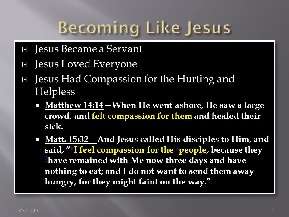  Jesus Became a Servant  Jesus Loved Everyone  Jesus Had Compassion for the Hurting and Helpless  Matthew 14:14—When He went ashore, He saw a large crowd, and felt compassion for them and healed their sick.
