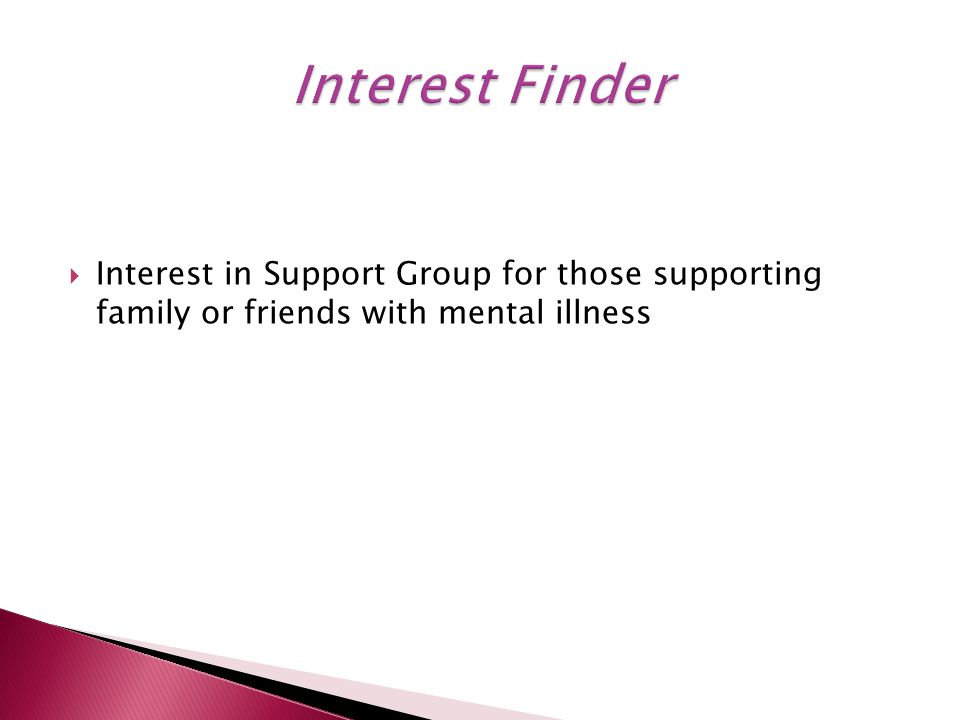  Interest in Support Group for those supporting family or friends with mental illness
