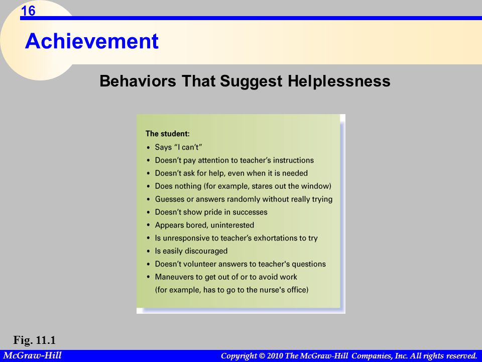 Copyright © 2010 The McGraw-Hill Companies, Inc. All rights reserved. McGraw-Hill 16 Achievement Behaviors That Suggest Helplessness Fig. 11.1