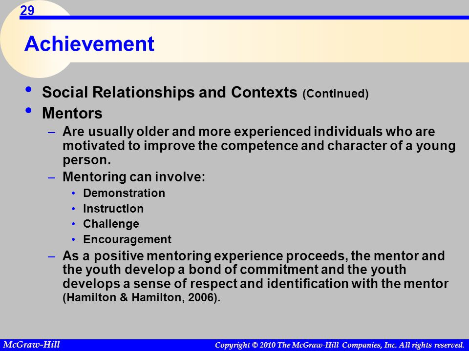 Copyright © 2010 The McGraw-Hill Companies, Inc. All rights reserved. McGraw-Hill 29 Achievement Social Relationships and Contexts (Continued) Mentors